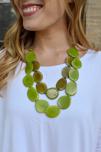 Womens Clothing Tagua Nut Flat Necklace Moss Green/Light Green