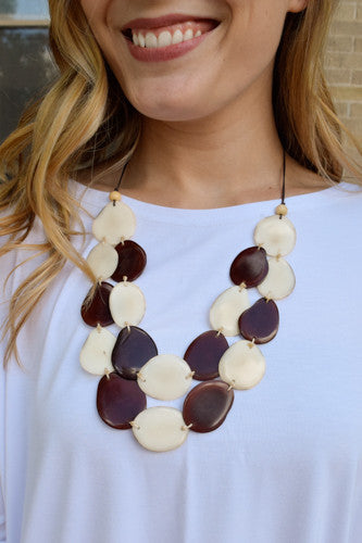 Womens Online Tagua Nut Flat Necklace Chocolate Brown/Ivory