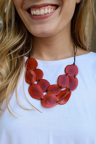 Womens Boutique Tagua Nut Short Strand Flat Necklace Coral