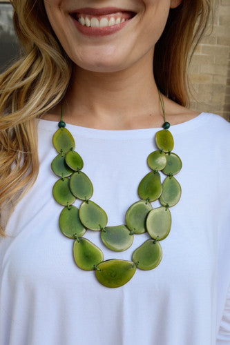 Cute Online Tagua Nut Flat Necklace Green