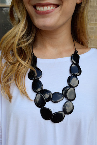 Cute Online Tagua Nut Flat Necklace Black