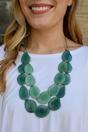 Affordable Online Tagua Nut Flat Necklace Mixed Mint