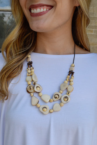 Womens Online Tagua Nut 2 Strand Necklace Ivory