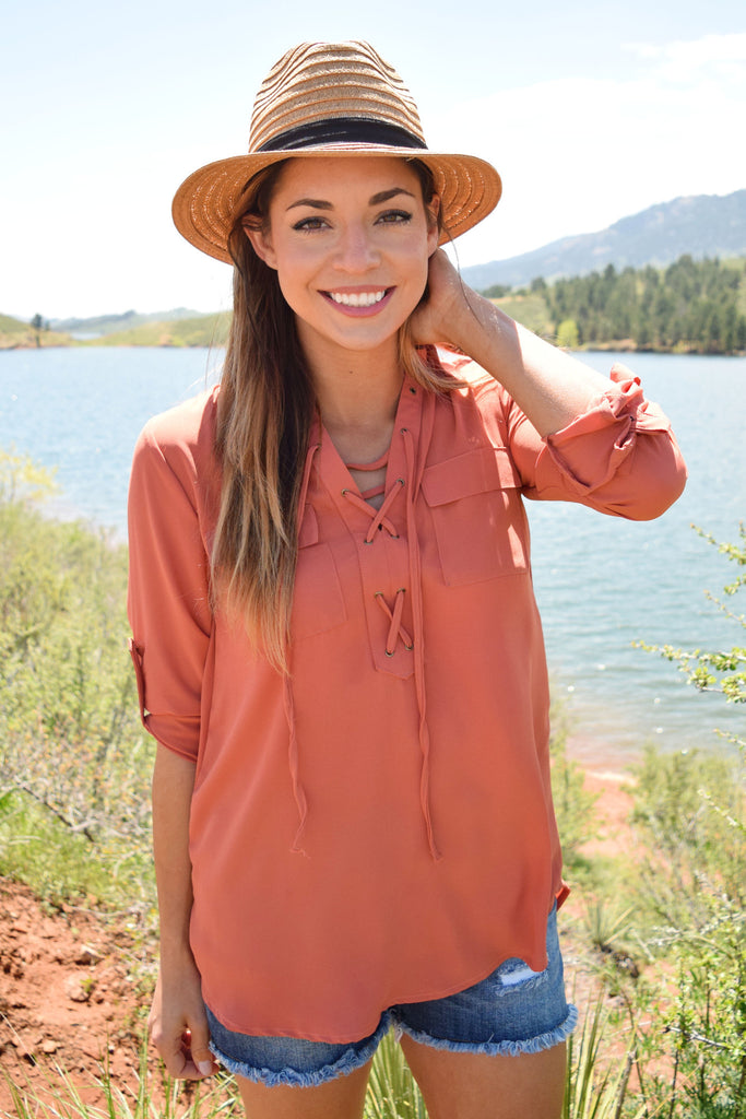 Affordable Online colorado rose lace up top