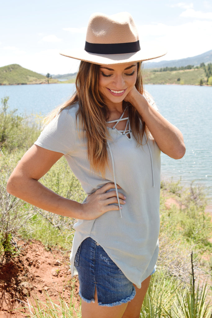 Cute high desert lace up top sage