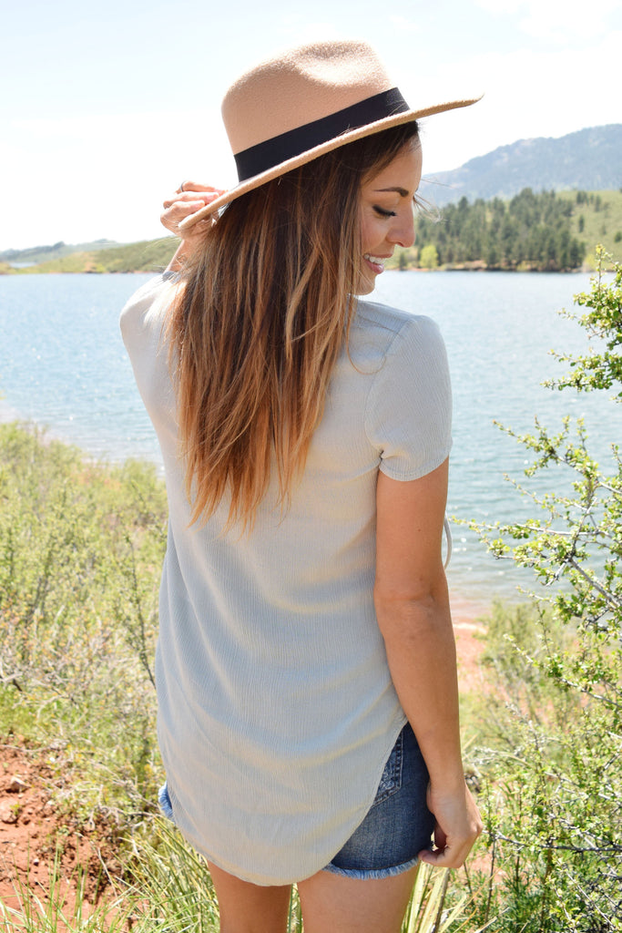 Cute Online high desert lace up top sage