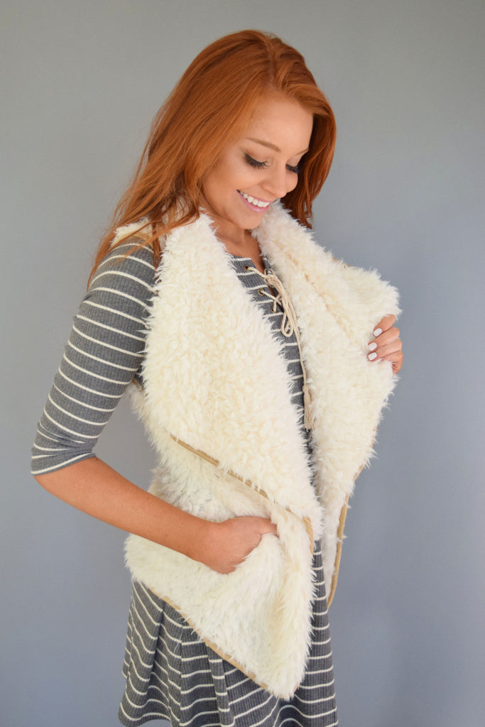 Affordable faux suede lined sherpa vest