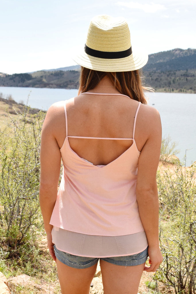 Chic highlands faux suede tank rose
