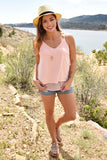Trendy Online Highlands Faux Suede Tank Rose