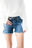 Ocean Front Frayed Shorts Medium Wash