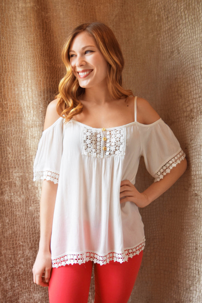 Chic Off the Shoulder Crochet Trim Top