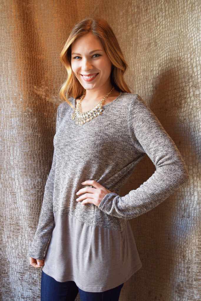 Womens Clothing peppered taupe sweater
