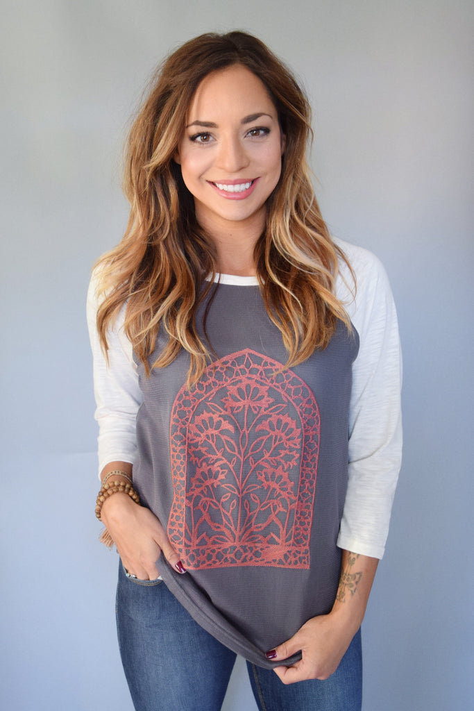Trendy Sunrise Embroidered Top