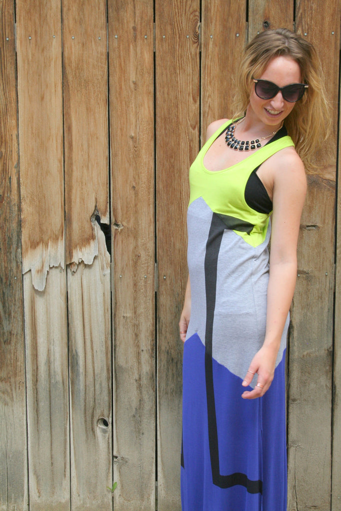Trendy NEON COLOR BLOCK MAXI