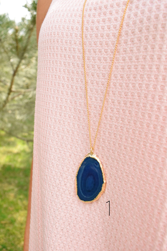 Womens Clothing blue agate slice necklace