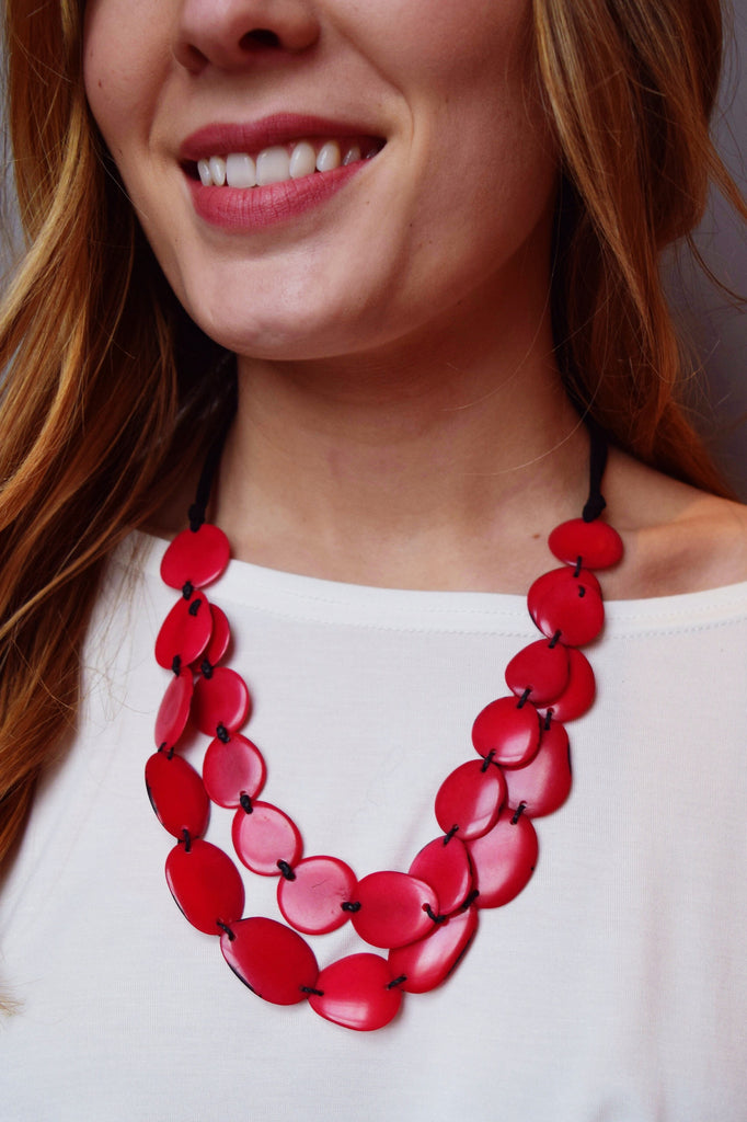 Trendy Tagua Nut Suede Necklace Coral