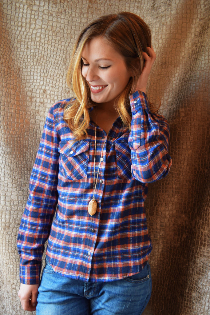 Light My Fire Plaid Top