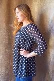 Colorado Chic sheer polka dot top