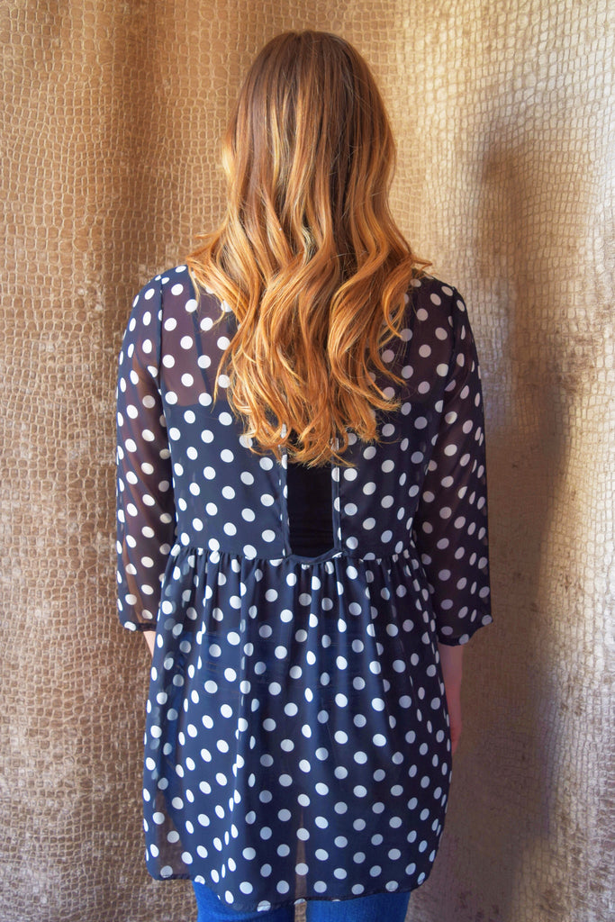 Womens Boutique sheer polka dot top
