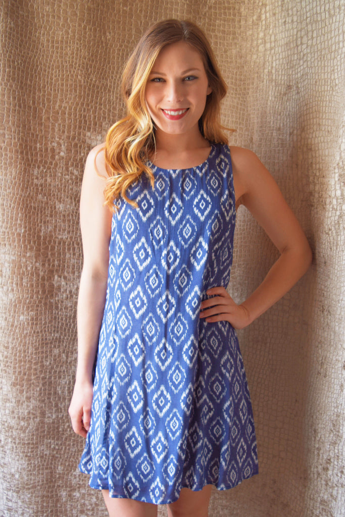 Colorado Chic shift and shake blue print dress