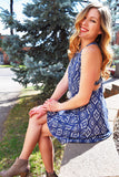 Chic SHIFT AND SHAKE BLUE PRINT DRESS