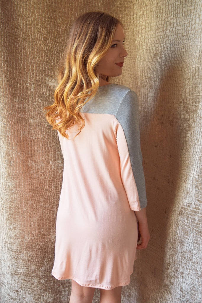 Chic pink and grey tunic dress