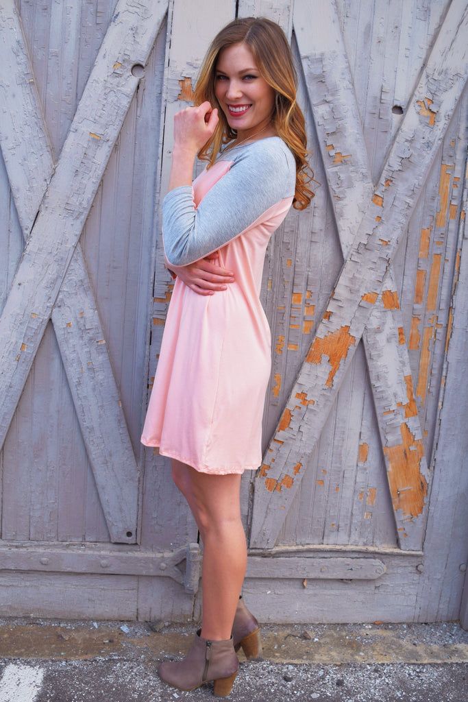 Cute Online PINK AND GREY TUNIC DRESS