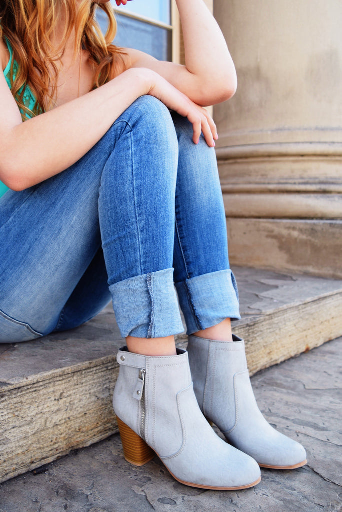 Chic Walking in the Clouds Grey Bootie