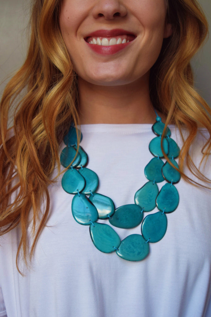 Trendy Online Tagua Nut Flat Necklace Teal
