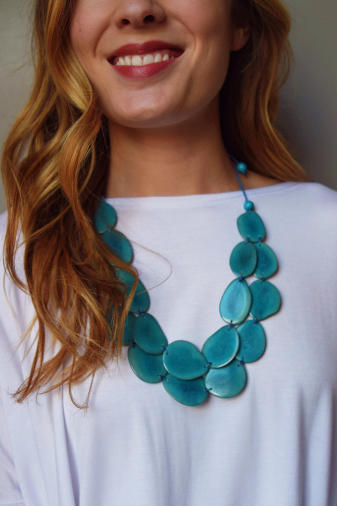 Trendy Tagua Nut Flat Necklace Bright Blue