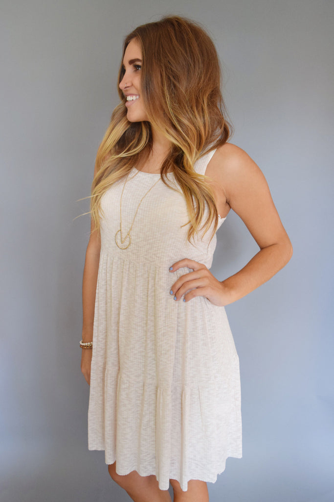 Cute Rib Knit Tiered Dress Oatmeal