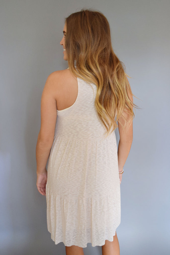 Cute Online rib knit tiered dress taupe