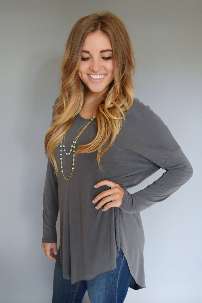 Chic Road Trip Zip Back Top Grey