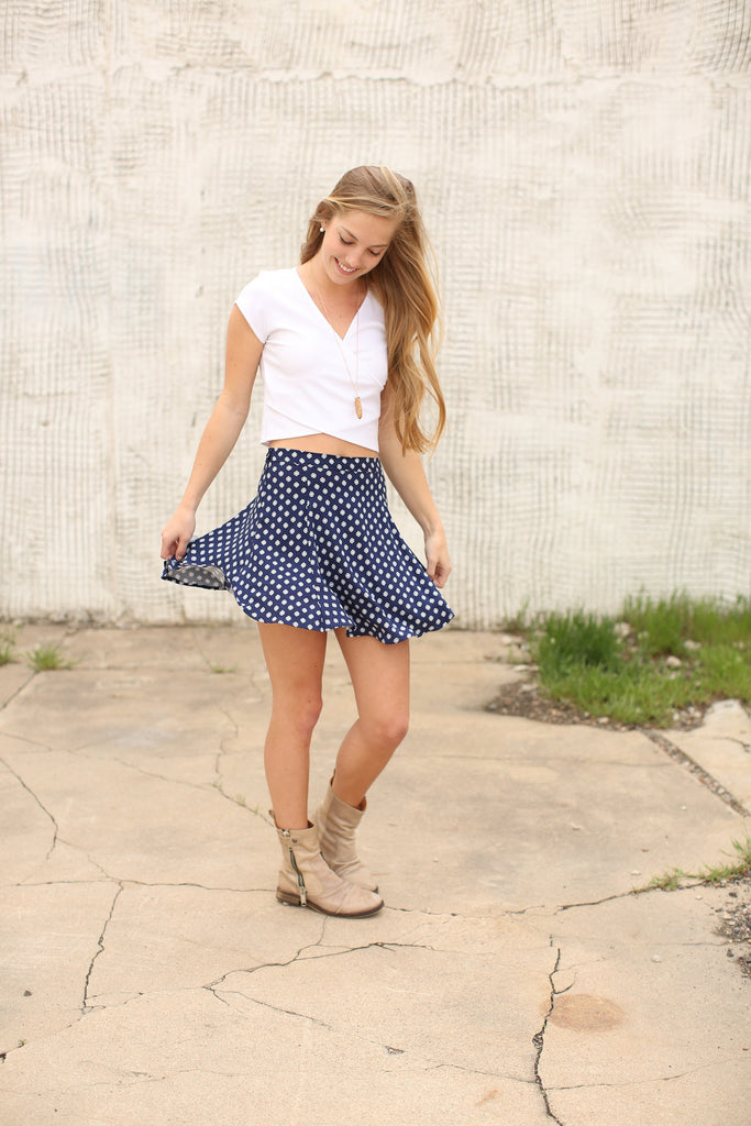 Affordable Navy Geometric Skater Skirt