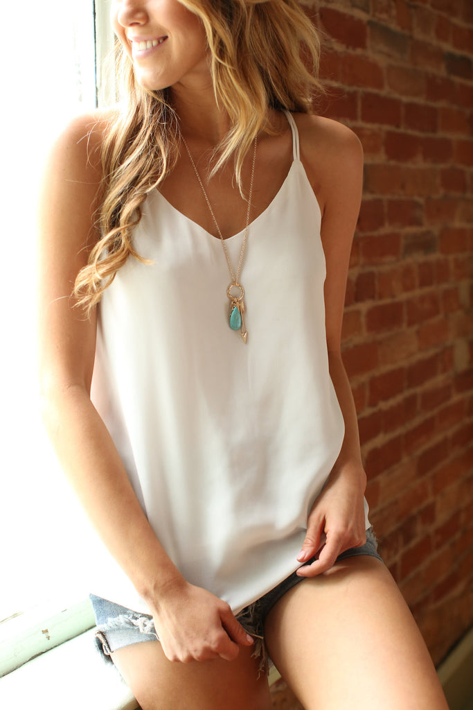 Affordable strappy chiffon tank top