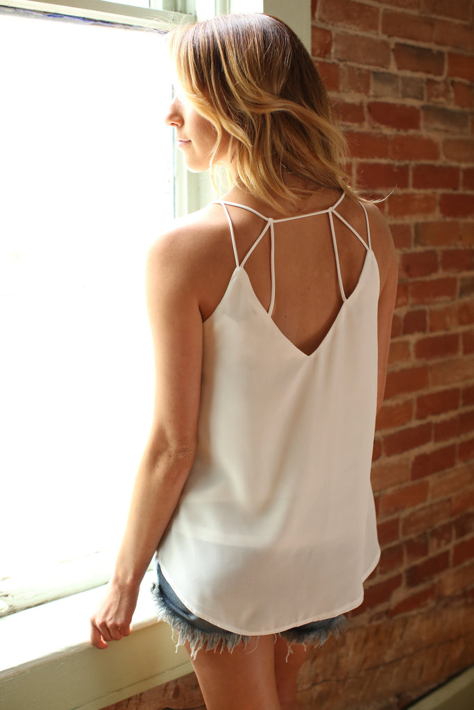 Womens Clothing Strappy Chiffon Tank Top Off-White