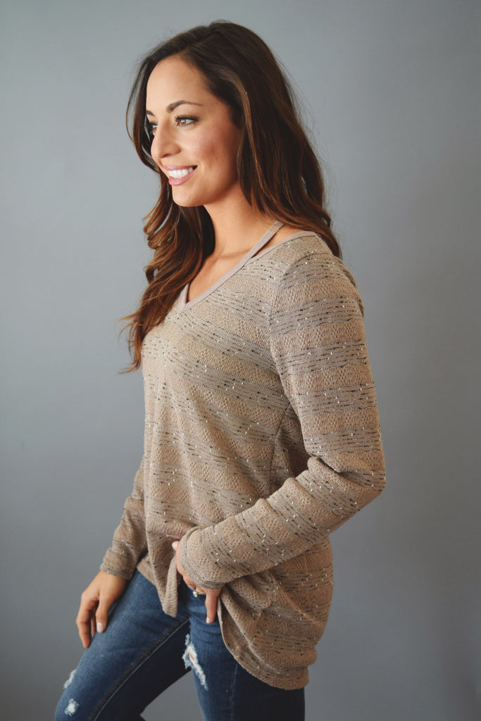 Colorado Chic Sagebrush Cutout Sweater Mocha