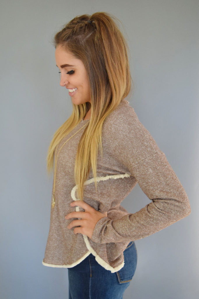 Affordable Online star dust fringe sweatshirt mocha