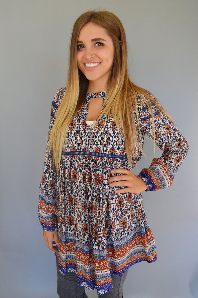 Affordable Online sunflower fields cutout tunic