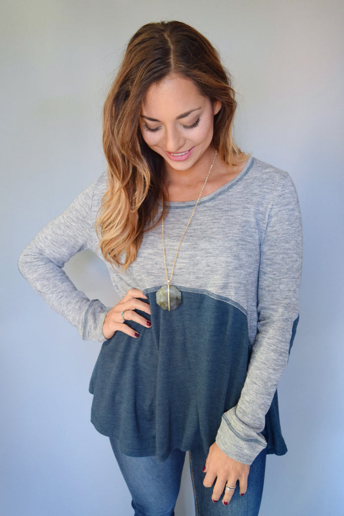 Colorado Chic teal patch top