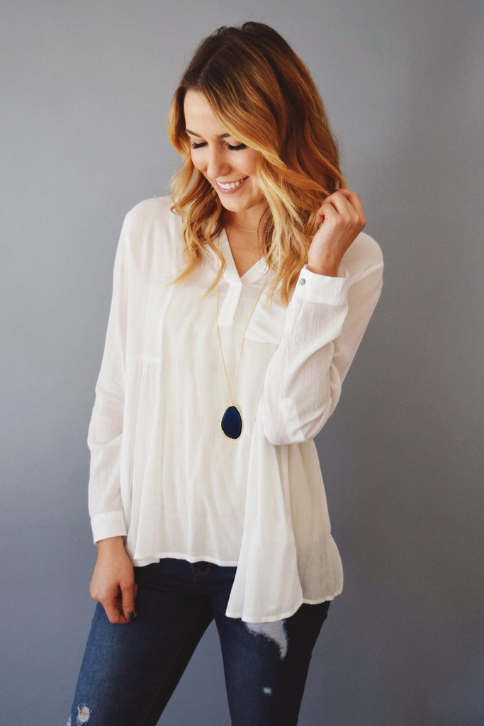 Womens Clothing In the Clouds V Neck Top