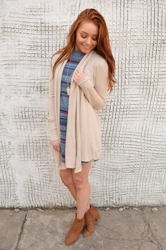 Chic wanderlust draped cardigan oatmeal