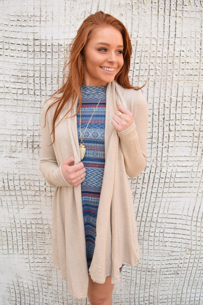Colorado Chic wanderlust draped cardigan oatmeal