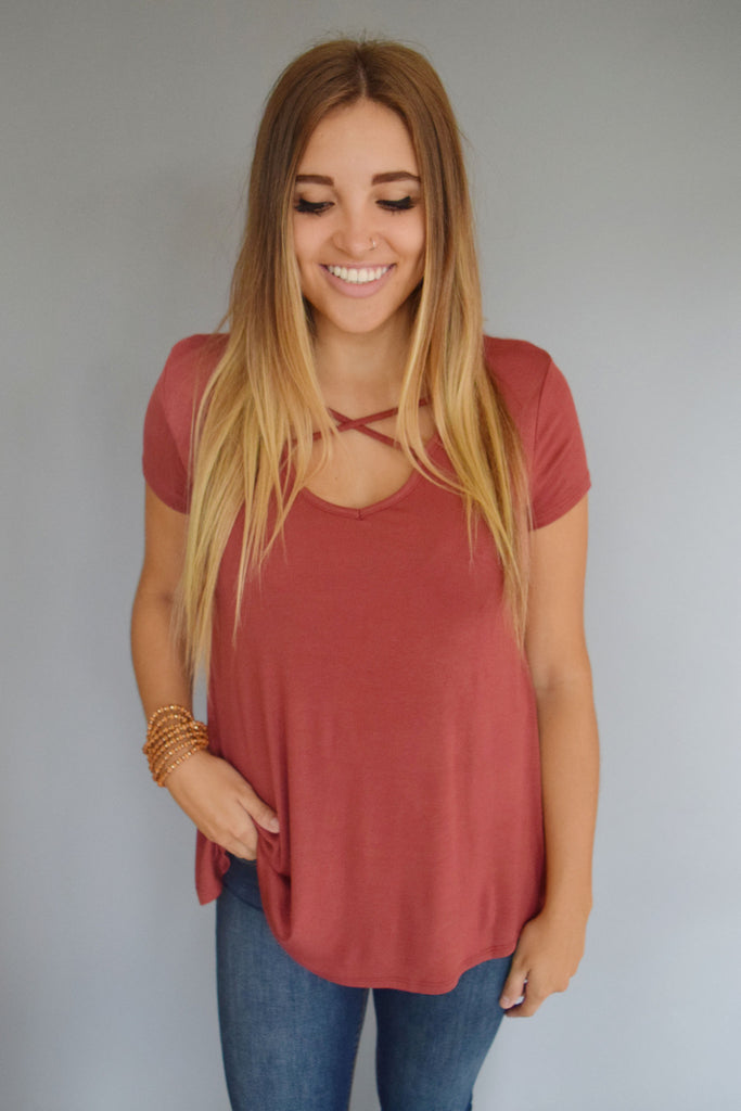Womens Online West Coast Strappy Front Tee Rust