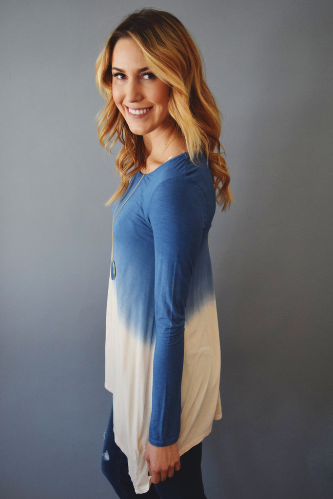 Womens Clothing waterfall dip dye top blue