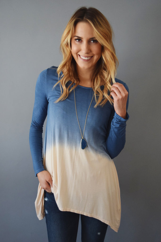 Colorado Chic Waterfall Dip Dye Top Blue