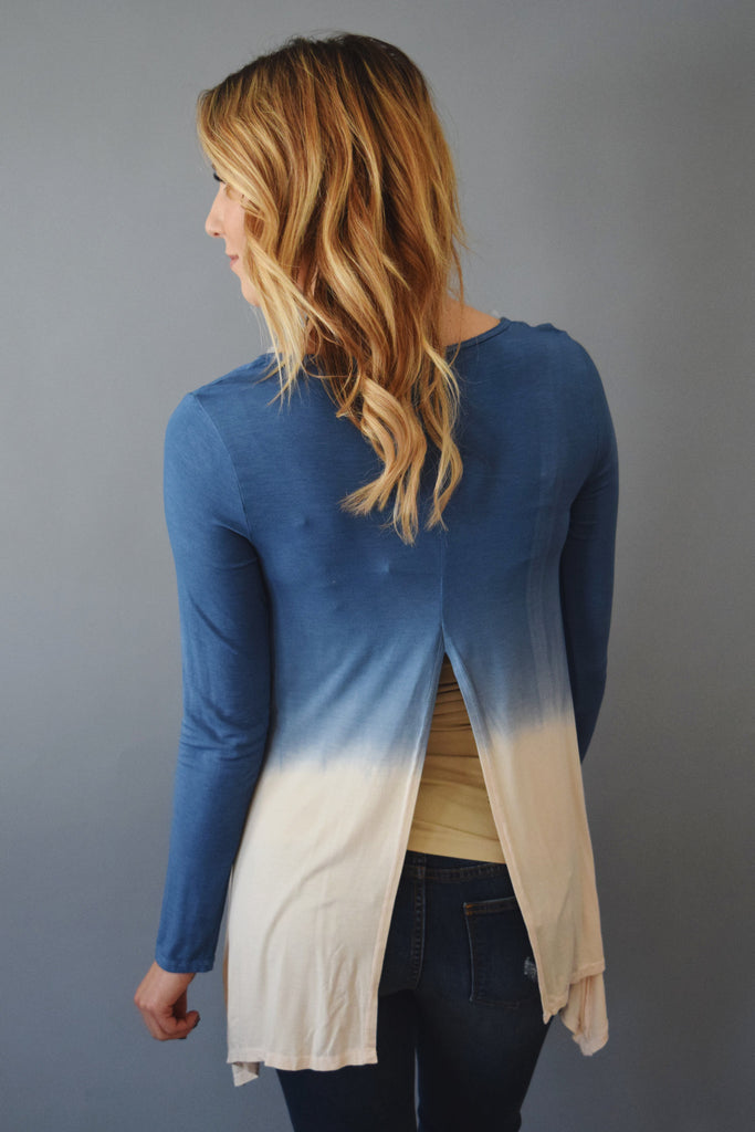 Womens Boutique waterfall dip dye top blue