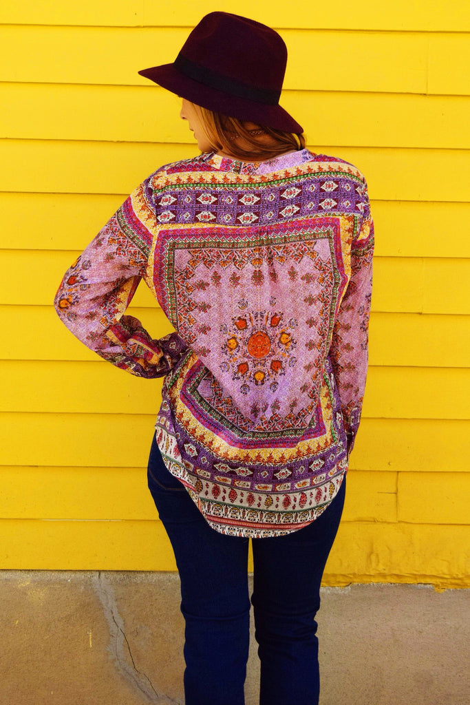 Womens Clothing lilac indian flowers top
