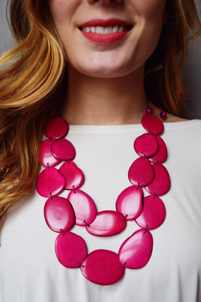 Affordable Online TAGUA NUT FLAT NECKLACE PINK