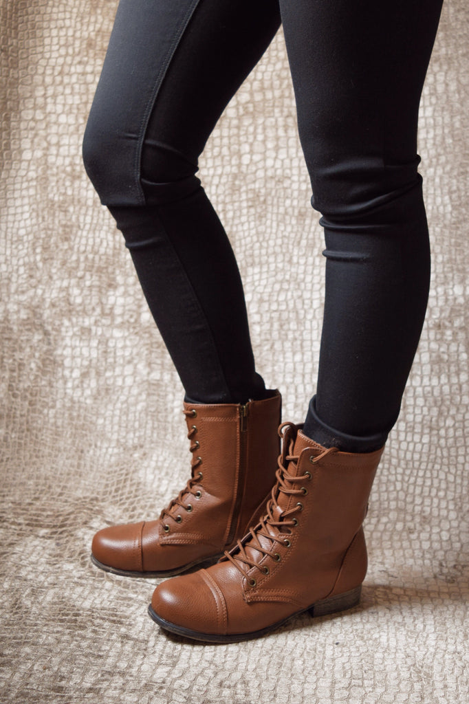Womens Boutique LACE UP COMBAT BOOT
